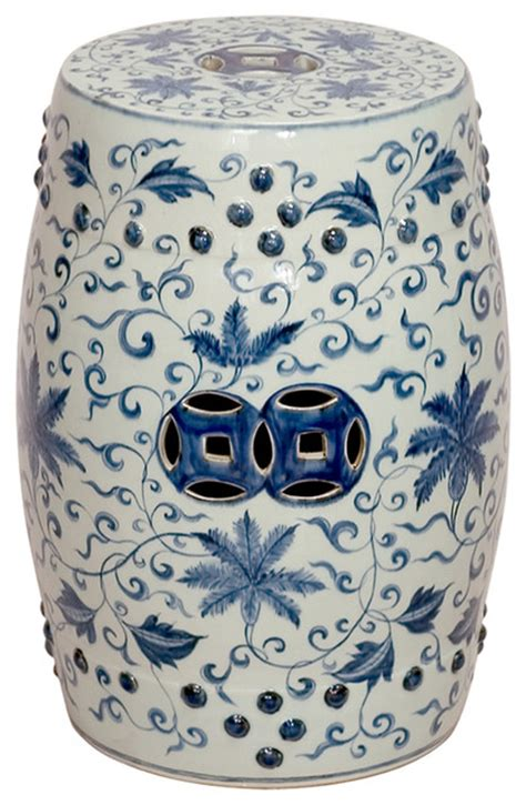 ceramic garden bench round blue and white lotus flowers ceramic garden stool