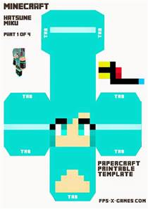 3d character template large printable hatsune miku minecraft character