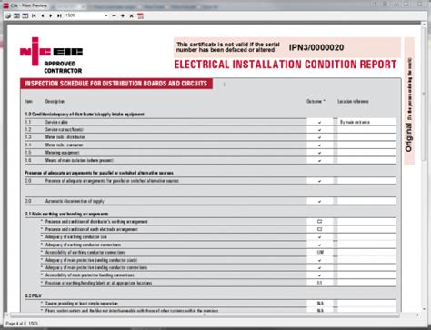 minor electrical installation works certificate template electrical installation condition report static