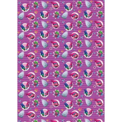 character wrapping paper trolls 3m gift wrap b m