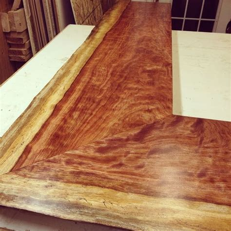 Live Edge Bar Top Beautiful Bubinga Miter Joint Live Edge Bar Top