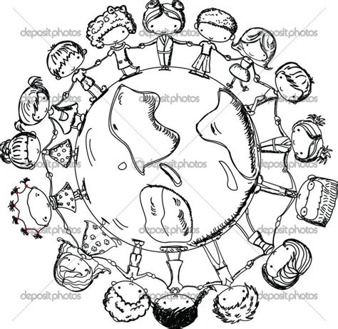 coloring pages of places around the world children holding hands around world coloring page cute