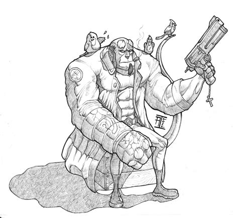 how to draw hellboy coloring