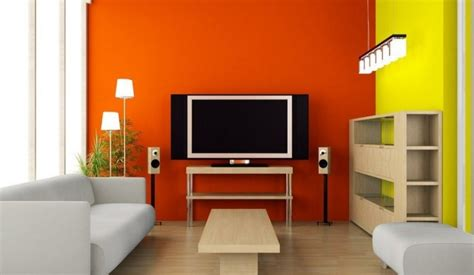 orange tv wall in modern minimalist living room interior