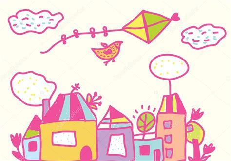 imagenes vectores para fondos divertido fondo con cometa casas para ni 241 os vector de