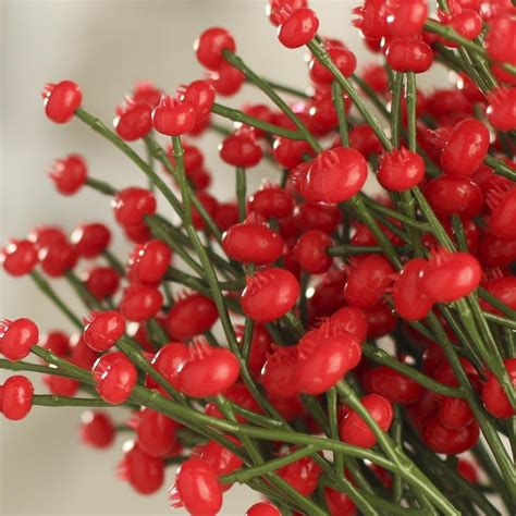 red artificial berry picks pip berries primitive decor