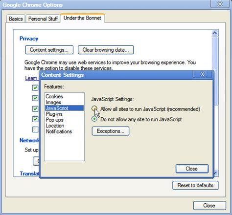 chrome javascript enabling and disabling javascript in web browsers