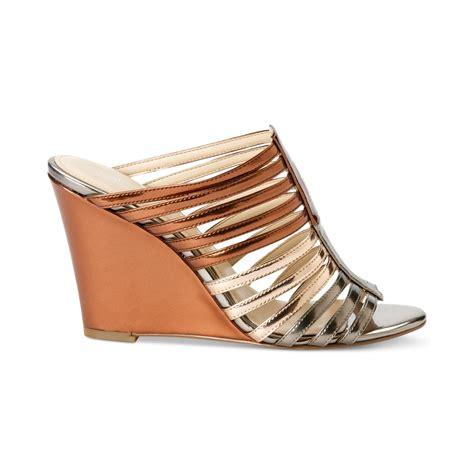 calvin klein wedge sandals calvin klein womens phillipa wedge sandals in brown