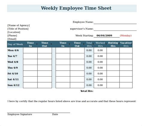 hourly timesheet template hourly calculator employee time sheet form