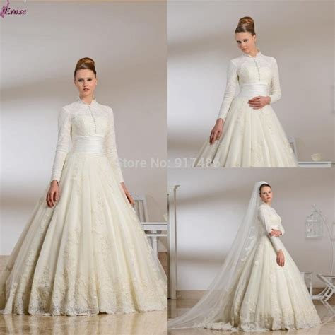 Flowery A Line Muslim Dress 2015 lace muslim wedding dress gown floor length high neck sleeve muslim bridal