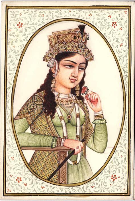 Handmade Portraits - mughal painting handmade indian royalty portrait shah