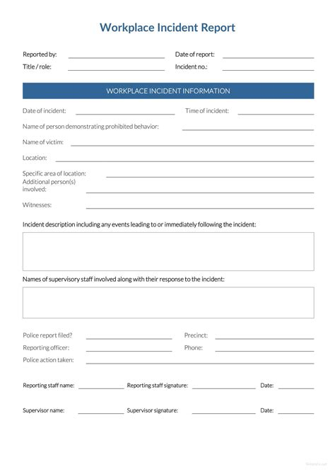 workplace incident report incident report form