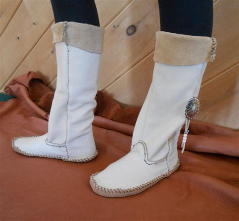 Handmade Leather Moccasin Boots - moccasin boots with silver concho handmade moccasins