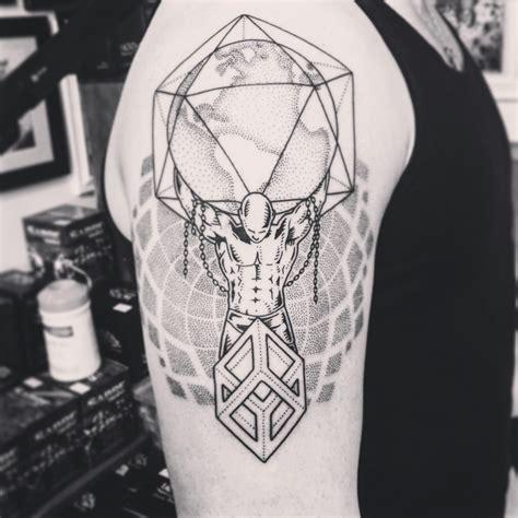 geometric tattoo calgary geometric pointillism atlas from electric blackbird tattoo