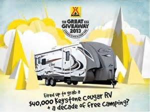 Koa Giveaway - the great koa giveaway 2013 sweepstakes win a keystone cougar travel trailer