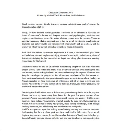 valedictorian speech template sle valedictorian speech exle 10 free documents