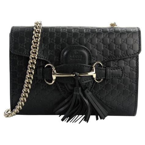Small Black Leather by Gucci Emily Small Black Leather Shoulder Bag Tradesy