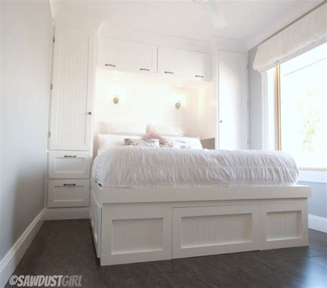built in bedroom storage built in wardrobes and platform storage bed the sawdust