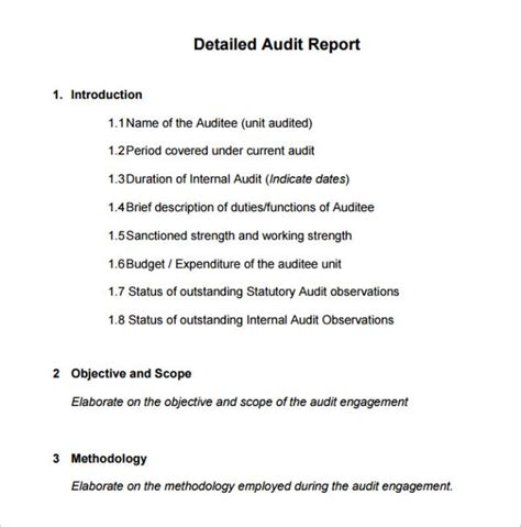 audit scope template appealing detailed audit report template sle with