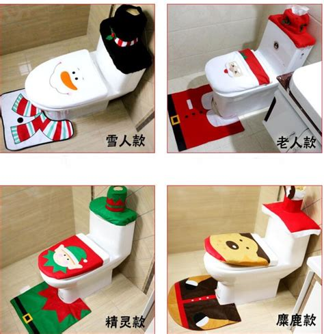 santa toilet seat cover and rug set gift happy santa toilet seat cover rug bathroom set decorations in