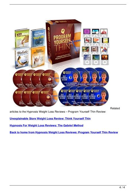 weight loss 4 reviews hypnosis weight loss reviews program yourself thin review