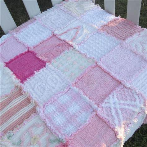 Patchwork Cot Quilt - ooak pink vintage chenille rag patchwork cot quilt