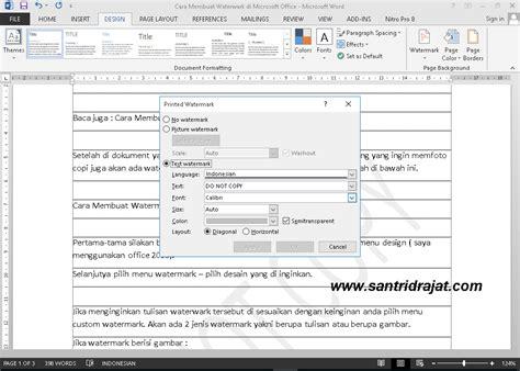 cara membuat watermark office 2013 cara membuat watermark di microsoft word santri drajat