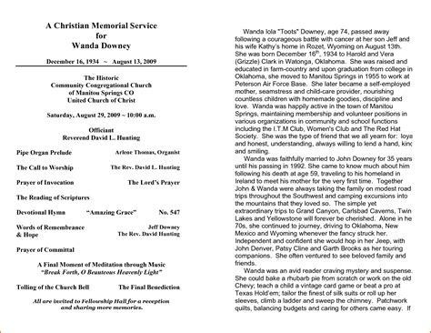 sample memorial program template memorial programs templates