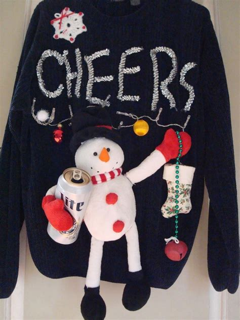 ugly sweater with lights ugly tacky christmas sweater mens beer party snowman