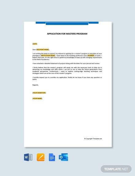 letter intent university template word