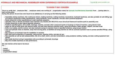 Hydraulic Mechanic Cover Letter by Garage Mechanic Work Experience Certificates