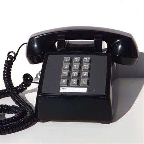 touch tone desk phone black black vintage vintage