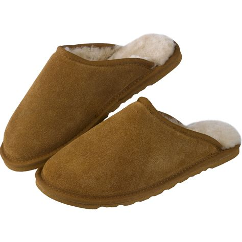 sheepskin lined slippers mens soft warm suede slippers genuine sheepskin
