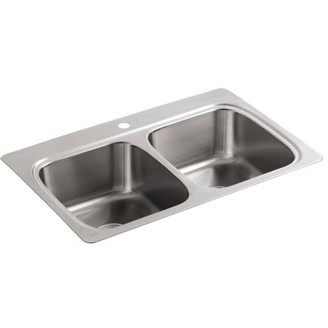 kitchen sinks stainless steel shop kohler 22 in x 33 in double basin stainless steel