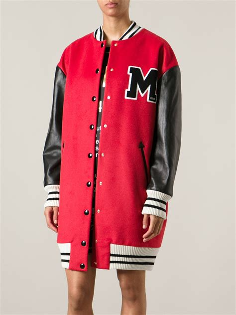 Moschino Bomber Jacket moschino varsity bomber jacket in lyst