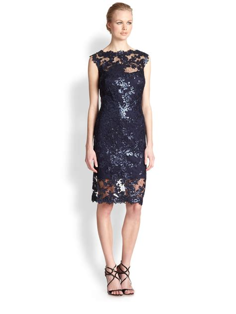 Wst 17230 Hem Sequined Dress lyst tadashi shoji sequined lace dress in blue