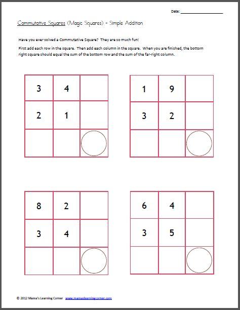 Easy Magic Squares Worksheet commutative squares magic squares simple addition