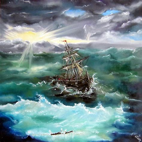 sailing boat in a storm boat in storm oil on canvas 50x50cm 300 euro ship