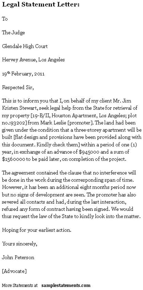 legal statement letter sle statements