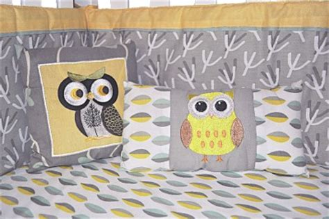 Owl Crib Bedding Unisex Look Dk Leigh Gender Neutral 10pc Owl Baby Crib Bedding Set Grey Yellow Green Ebay