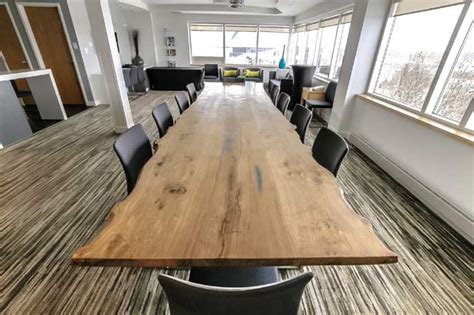 Live Edge Boardroom Table Wood Anchor Salvaged Manitoba Live Edge Oak Custom Boardroom Table