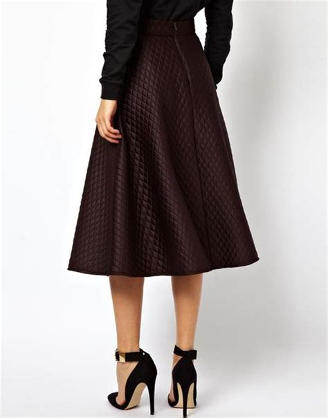 asos quilted midi skirt in brown lyst