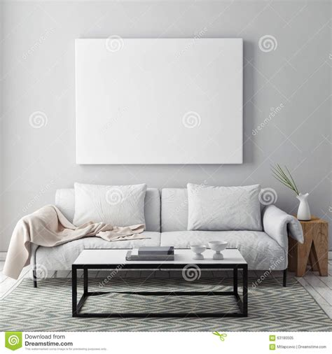 Living Room Background Stock Images Mock Up Blank Poster On The Wall Of Livingroom Stock Photo