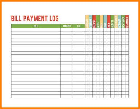 Bill Payment Record Template by 5 Bill Payment Record Template Sle Travel Bill