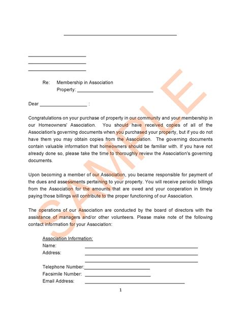 Hardship Letter To Hoa homeowners association letter templates resume cover