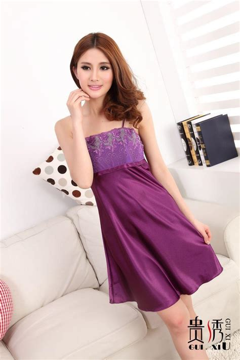 Violet Lisya Nightdress Violet Lacesgstring imitated silk lace square collars sleeveless nightdress purple 7colors nightgown