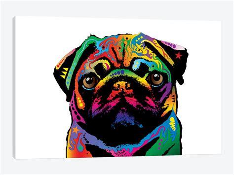 rainbow pug rainbow pug on white canvas wall by michael tompsett icanvas