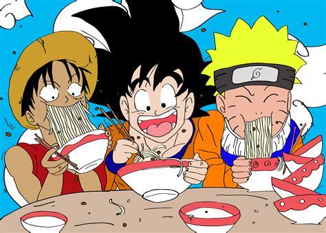 imagenes de goku comiendo luffy goku y naruto by omaromy on deviantart