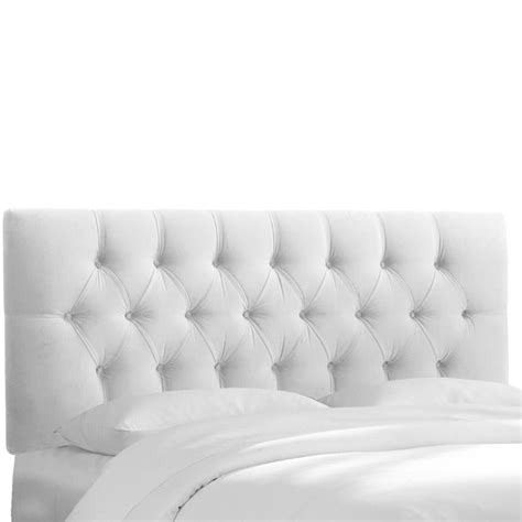skyline upholstered tufted headboard in white