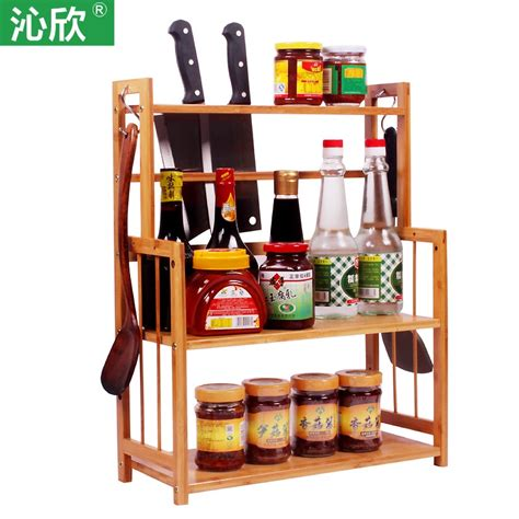 home bamboo wood kitchen shelf seasoning spice jar kitchen